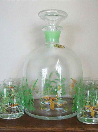 Carafe et 6 verres de Bohême années 70