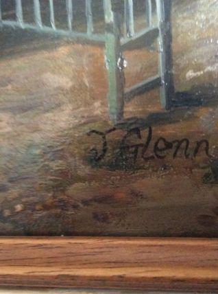 Ancienne huile sur panneau signee J. GLENN (19eme)