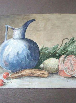 Tableau - Aquarelle ancienne fruits et pichet bleu