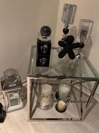 Table d appoint en chrome menue d une vitre style moder