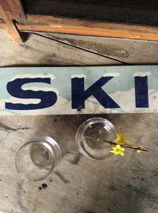 Plaque publicitaire SKI glacier vintage