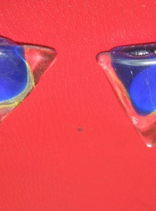 Boucles d'Oreille Clips, Triangulair en Verre