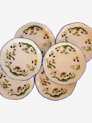 6 assiettes à dessert Oiseaux du Paradis Gien