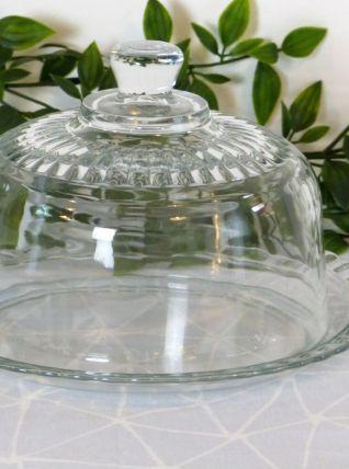 Plat et sa cloche en verre Arcoroc