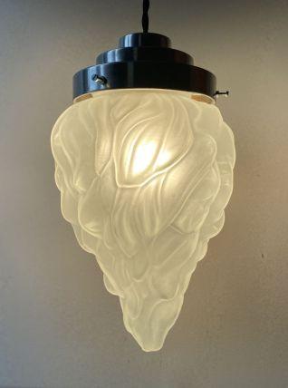 ANCIENNE LAMPE SUSPENSION ART-DECO FLAMME