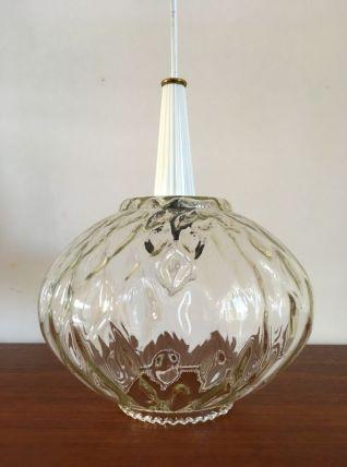 Suspeension vintage en verre années 60