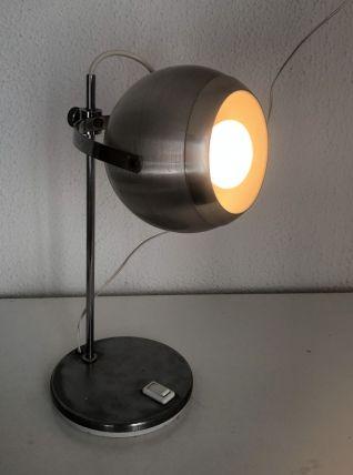Lampe de table eyeball acier brossé Aluminor vintage 1960