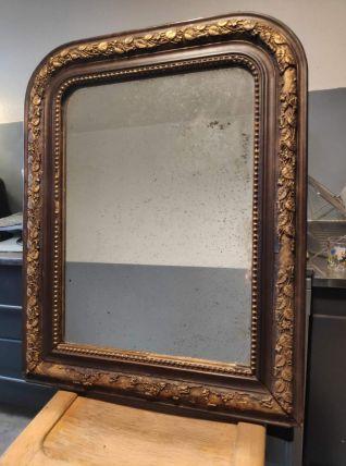 miroir Louis Philippe petit en bois marron foncé et doré