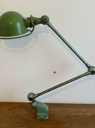 Lampe JIELDE. 2 bras articulés. 1950. Verte.