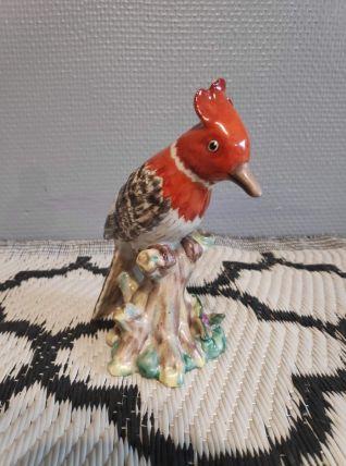 oiseau en céramique craquelée vintage