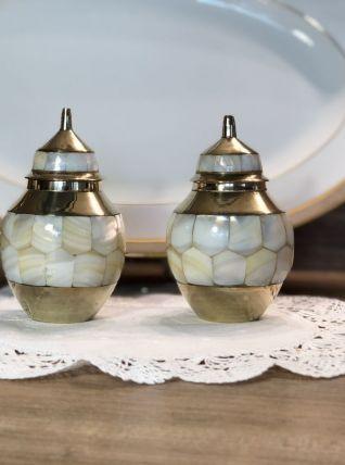 2 Pots en Nacre et Laiton - Vintage - Très Bon Etat