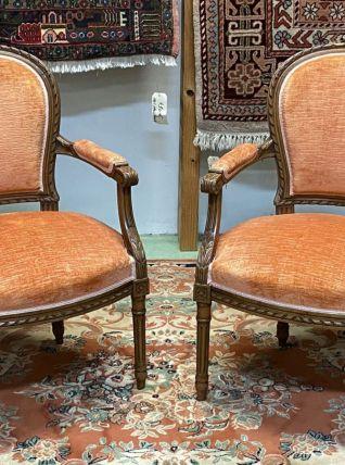 Paire de fauteuils Louis XVI en noyer, début XXème