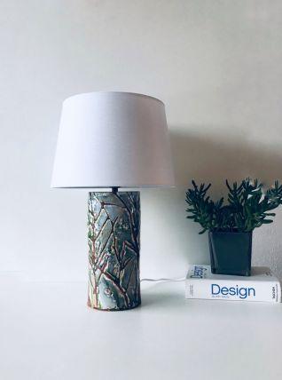 Lampe en céramique grès chamotte blanc