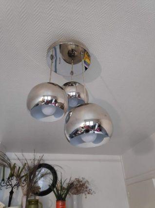 lustre 3 globes en métal chromé des années 80
