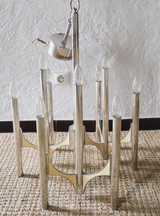 Lustre à neuf bras de lumières Sciolari 1970