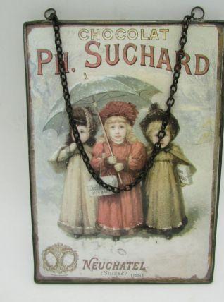 carte postale publicitaire chocolat Suchard sous verre