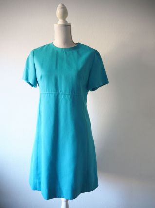 Robe babydoll Mod trapèze Twiggy turquoise vintage 60's