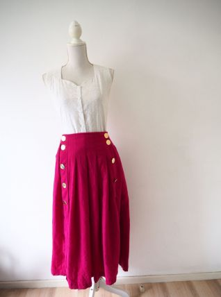 Longue jupe plissée en laine rose fuchsia vintage 70's
