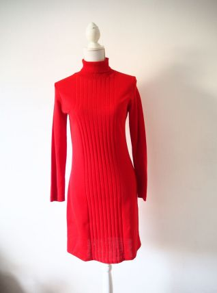Robe pull col roulé rouge vif vintage 70's