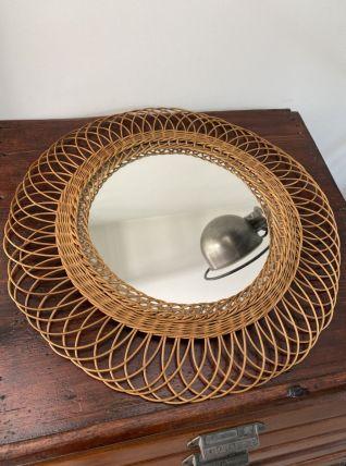 Miroir rotin vintage - 50cm