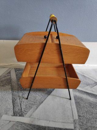 travailleuse vintage en bois  compartiments scoubidou jaune