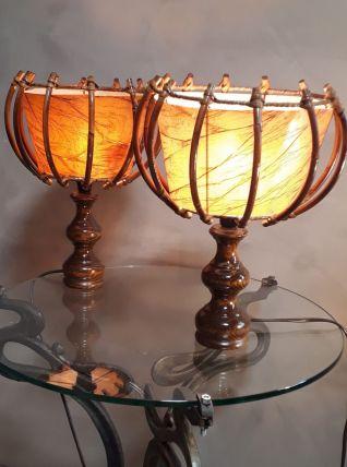 duo  lampes osier scandinave 1960 a 70 vintage  remis au nor
