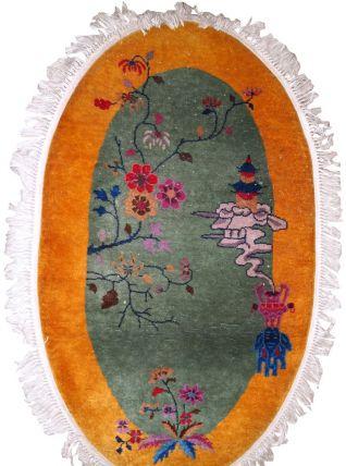 Tapis ancien Chinois Art Deco fait main, 1B853