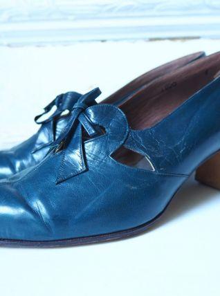 Chaussures derbies à talon en cuir bleu canard vintage 30's