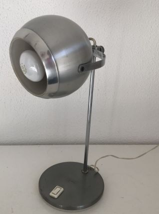 Lampe de table eyeball acier brossé Aluminor vintage 1960 -