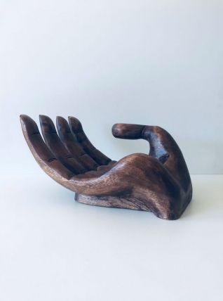 Grande main vintage en bois sculpté