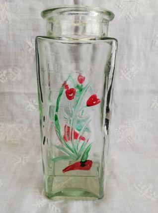 Ancien vase en verre décor peint