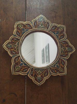 Miroir fleur en bois peint