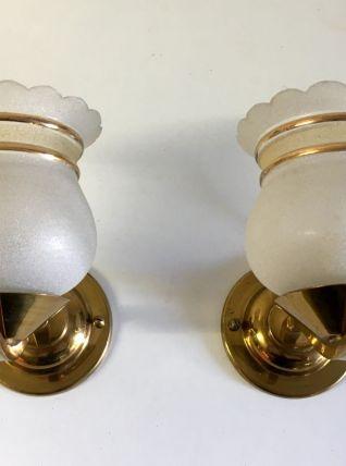 Paire d'appliques laiton et verre granité - années 60