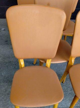 6 Chaises skaï marron doré des années 50