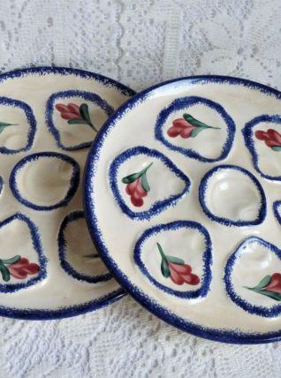 Assiettes à huîtres de Pornic céramique, Service à huîtres.