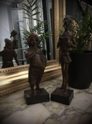Statuettes bois sculpté Don Quichotte Sancho Panza 1970