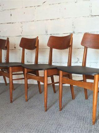 Chaises scandinave années 60 vintage teck