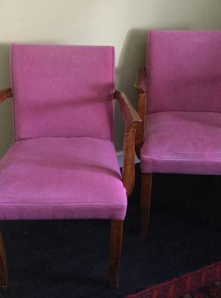 Paire de fauteuil bridge Art déco velours rose