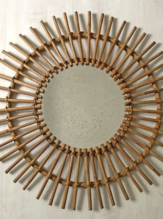Miroir soleil en rotin vintage 60's