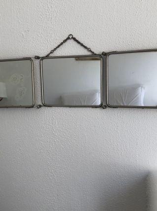 Miroir triptyque de barbier vintage 1930 - 21 x 85 cm