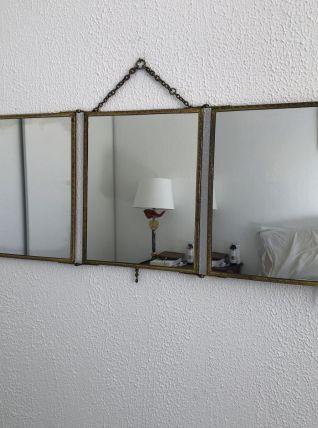 Miroir triptyque barbier laiton vintage 1920 - 34 x 76 cm