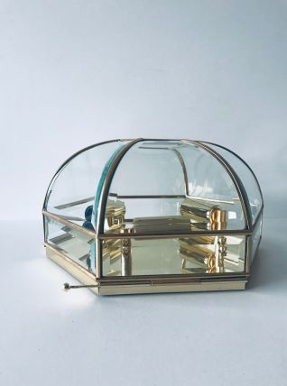 Plafonnier art déco hexagonal laiton et verre
