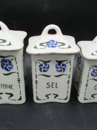 3 pots à épices faience art nouveau déco cuisine earthenware