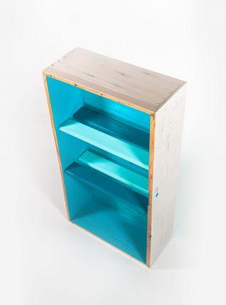 Étagère bibliothèque bleue en bois massif style côtier