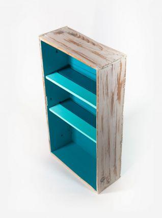 Étagère bibliothèque bleue en bois massif effet vieilli