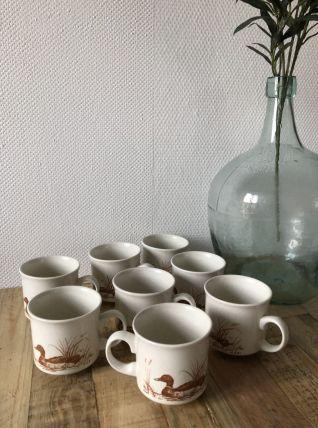 8 Tasses Duck Churchill England vintage