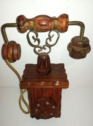 Ancien Téléphone boite décoratif Vintage en bois