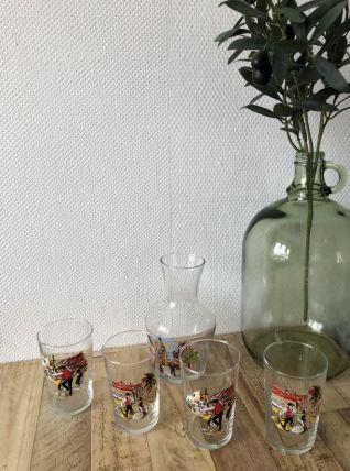 Set carafon et 4 verres Alsace vintage