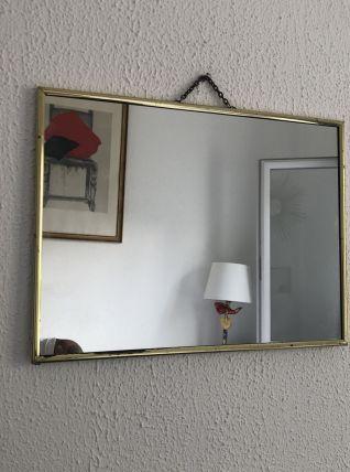 Miroir barbier doré émeraude vintage 1960 - 38 x 28 cm