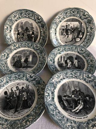 6 assiettes parlantes - Porcelaine de Choisy le Roi HB